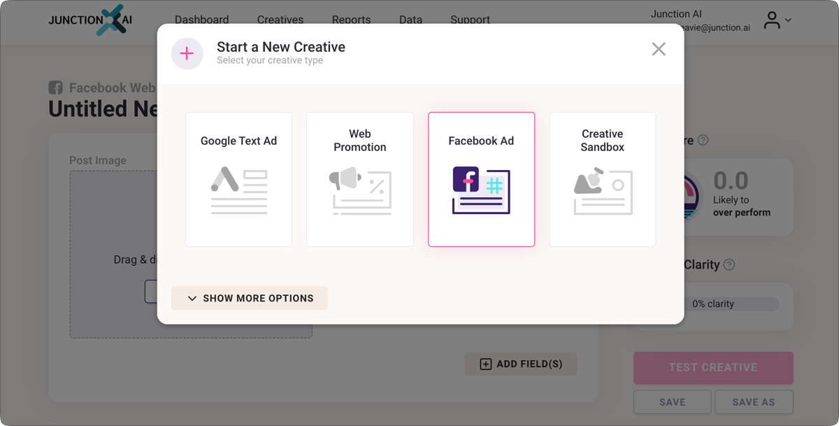 Junction AI Test Creative for Facebook Ads with AI